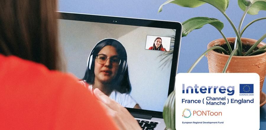 Two women chat via video conferencing software