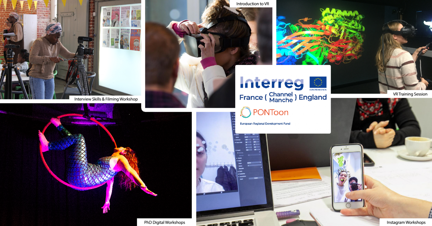 A collection of images depicting various PONToon activities, such as virtual reality, tilt brush, digital circus and digital arts