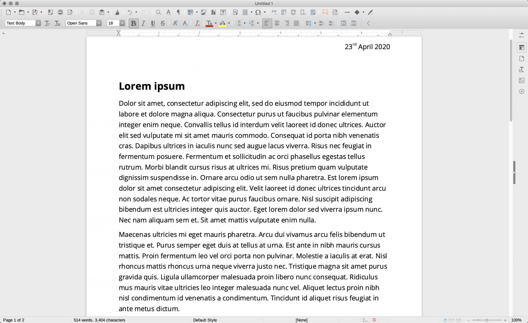 Screenshot of LibreOffice's word processing tool
